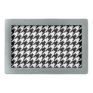 Black & White Houndstooth Pattern Rectangular Belt Buckle
