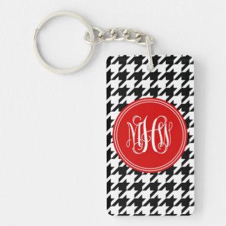 Black White Houndstooth Red 3 Init Vine Monogram Acrylic Key Chain