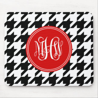 Black White Houndstooth Red 3 Init Vine Monogram Mouse Pad