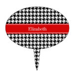Black White Houndstooth Red Name Monogram Cake Toppers