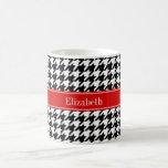 Black White Houndstooth Red Name Monogram Classic White Coffee Mug