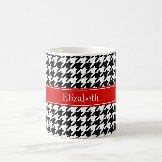 Black White Houndstooth Red Name Monogram Coffee Mug