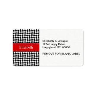 Black White Houndstooth Red Name Monogram Custom Address Label
