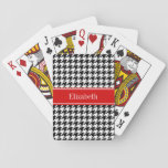 "Black White Houndstooth Red Name Monogram Playing Cards<br><div class=""desc"">Black and White Chevron ZigZag Pattern, Red Ribbon Name Monogram Label Customize this with your name, monogram or other text. You can also change the font, adjust the font size and font color, move the text, add additional text fields, etc. Please note that this is a digitally created graphic design...</div>"