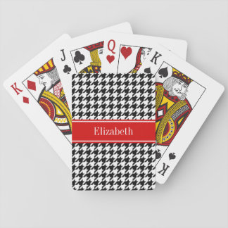 Black White Houndstooth Red Name Monogram Playing Cards