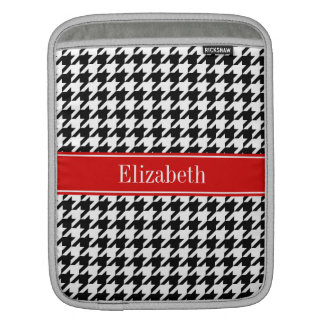 Black White Houndstooth Red Name Monogram Sleeve For iPads