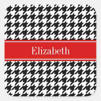Black White Houndstooth Red Name Monogram Square Sticker