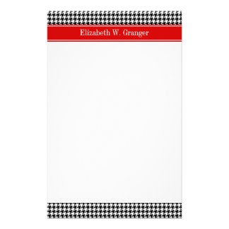 Black White Houndstooth Red Name Monogram Stationery