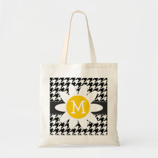 Black White Houndstooth Spring Daisy Tote Bag