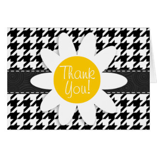 Black White Houndstooth Spring Daisy Card
