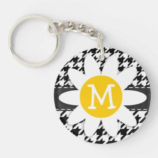 Black & White Houndstooth.; Spring Daisy Acrylic Keychain