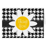 Black & White Houndstooth.; Spring Daisy Stationery Note Card