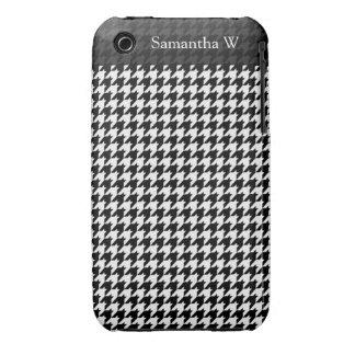 Black/White Houndstooth Stylish Fashion Designer iPhone 3 Covers