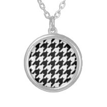 Black/White Houndstooth Stylish Fashion Designer Silver Plated Necklace