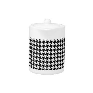 Black/White Houndstooth Stylish Fashion Designer Teapot