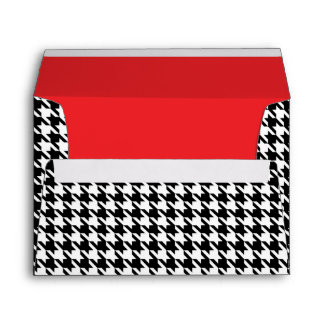 Black & White Houndstooth with Red Lining Wedding Envelope