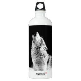 Black & White Howling Wolf Aluminum Water Bottle