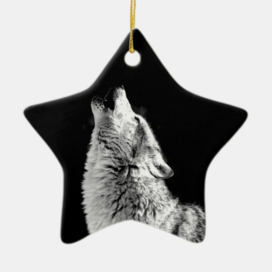 Black & White Howling Wolf Ceramic Ornament