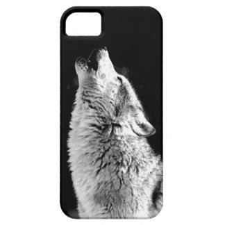 Black & White Howling Wolf iPhone 5 Cover