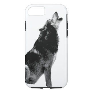 Black White Howling Wolf iPhone 7 Case