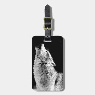 Black & White Howling Wolf Luggage Tag