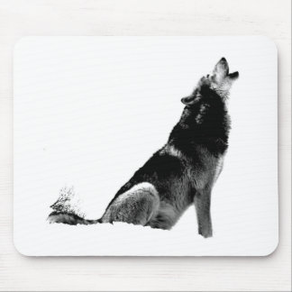 Black White Howling Wolf Mouse Pad