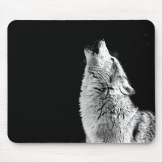 Black & White Howling Wolf Mouse Pad
