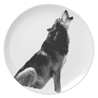 Black White Howling Wolf Plate