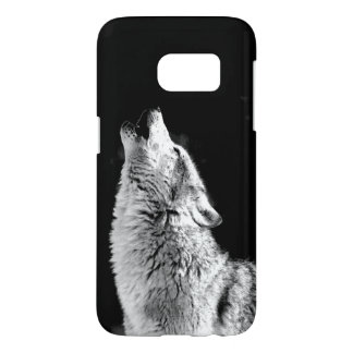 Black & White Howling Wolf Samsung Galaxy S7 Case