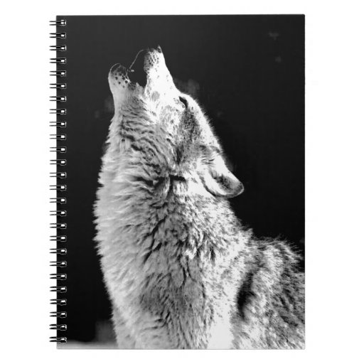 Black & White Howling Wolf Spiral Note Book   Zazzle
