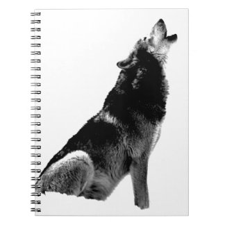 Black White Howling Wolf Spiral Notebook