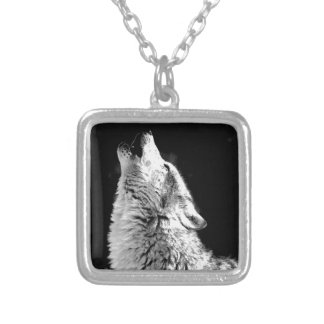 Black & White Howling Wolf Square Pendant Necklace