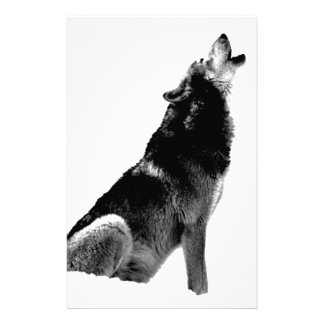 Black White Howling Wolf Stationery