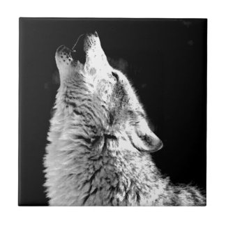 Black White Howling Wolf Tile