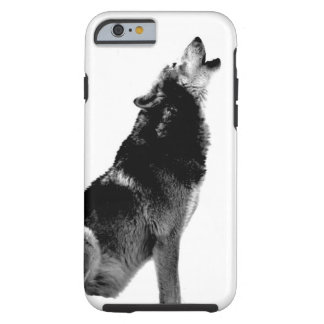 Black White Howling Wolf Tough iPhone 6 Case