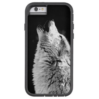 Black White Howling Wolf Tough Xtreme iPhone Case