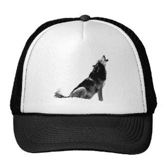 Black White Howling Wolf Trucker Hat