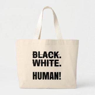 Black white human tee t-shirt tshirt Hoodie mug... Large Tote Bag