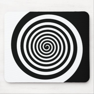 Black & White Hypnotic Spiral Mouse Pad
