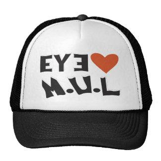 Black & White I LUV MUL  Logo cap Trucker Hat