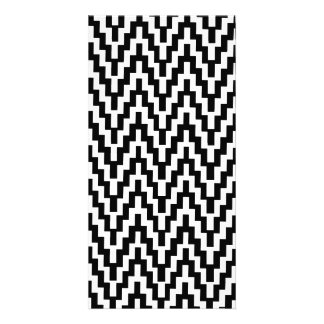 Black White Ikat Chevron Zig Zag Stripes Pattern Card