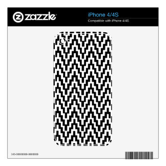 Black White Ikat Chevron Zig Zag Stripes Pattern iPhone 4S Skin