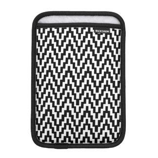Black White Ikat Chevron Zig Zag Stripes Pattern Sleeve For iPad Mini