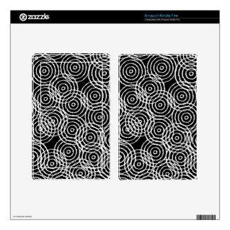 Black White Ikat Overlap Circles Geometric Pattern Kindle Fire Skin