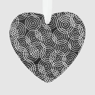 Black White Ikat Overlap Circles Geometric Pattern Ornament