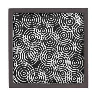 Black White Ikat Overlap Circles Geometric Pattern Premium Keepsake Box