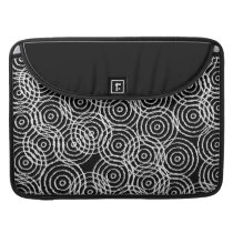 Black White Ikat Overlap Circles Geometric Pattern Sleeve For MacBooks