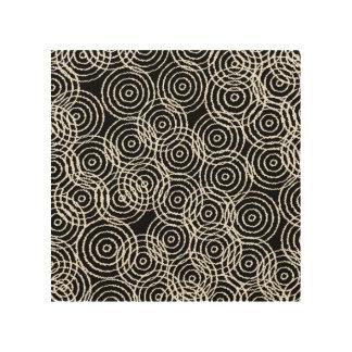 Black White Ikat Overlap Circles Geometric Pattern Wood Print
