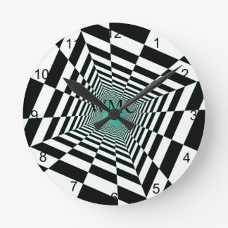 Black White Illusion Round Clock