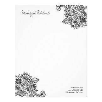 Black & White Illustrated Bohemian Paisley Henna Letterhead